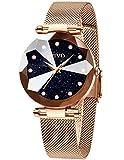 CIVO Damen Uhren Wasserdicht Silm Minimalistisch mit Edelstahl Mesh Armband Mode Kleid Elegant Beiläufig Quarzuhr für Damen,Rosegold/Blau