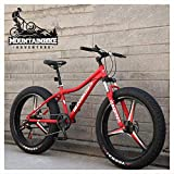 Wttfc Hardtail MTB 26 Zoll mit Gabelfederung für Herren Damen, Erwachsenen Fette Reifen Fahrräder, Scheibenbremsen Mountainbike, Rahmen aus Kohlenstoffstahl,5...