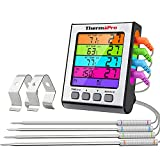 ThermoPro TP17H Digitales Grill-Thermometer Bratenthermometer Fleischthermometer Ofenthermometer mit 4 Edelstahlsonden, Blaue Hinterbeleuchtung,...