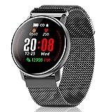 CanMixs Smartwatch Fitness Tracker, CM12 Smart Watch Armband mit Pulsmesser, Wasserdicht IP67 Uhr Stoppuhren Vibrationsalarm Anruf SMS Beachten für Damen...