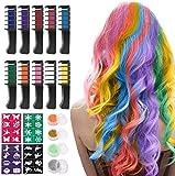 Haarkreide für Mädchen, Kastiny 10 Stück Haarfarbe Kamm, Temporär Haarfarbe Kreide Kamm für Kinder Haarfärbemittel, Party und Cosplay, mit 4 Glitzertuben...