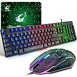 Gaming Tastatur Und Maus Set, QWERTZ German Layout Regenbogen LED Hintergrundbeleuchtung Ergonomische Keyboard 6 Tasten 2400 DPI Maus und Mauspad, USB...