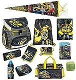 Familando Transformers Bumblebee Schulranzen-Set 16 TLG. mit Federmappe, Sporttasche, große Schultüte 85cm und Regenschutz