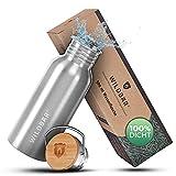WILDBÄR® - Premium Trinkflasche Edelstahl [500 ml] einwandig u. auslaufsicher mit Bambus Deckel - Edelstahl Trinkflasche für Sport, Wandern u. Büro - BPA...