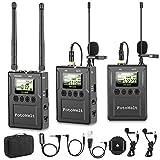 Fotowelt 100-Kanal Zweikanal UHF Professionelles drahtloses Lavalier-Mikrofon System Kompatibel mit DSLR-Kameras/Camcordern/Telefonen für Videoaufnahmen...