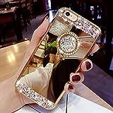 Yobby Spiegel Hülle für Samsung Galaxy S9 Plus,Gold Handyhülle mit Süß Ringhalter Ständer Glitzer Diamant Bling Kristall Strass Schlank Weich Gummi Bumper...