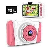 WOWGO KinderKamera, 3,5 Zoll Digital Kamera Spielzeug USB Wiederaufladbarer Selfie Videokamera mit 12 Megapixel/1080P HD/Dual Lens/32GB TF Karte/Stickers,...