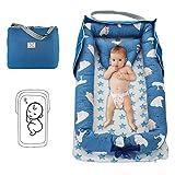 Damohony Babyliege für Neugeborene, faltbar, tragbar, Babybett, Babybett, für Reisen und Schlafzimmer im Freien 85 x 45 x 12cm Bär blau