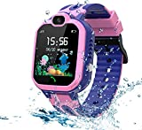LDB Kinder Smartwatch Phone,wasserdichte LBS Tracker Smart Watch Voice Chat SOS Kamera Taschenlampe Mathe Spiel Wecker Telefon Armbanduhr Touchscreen, geeignet...