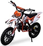 Kinder Mini Crossbike Gazelle 49 cc 2-takt inklusive Tuning Kupplung 15mm Vergaser Easy Pull Start verstärkte Gabel Dirt Bike Dirtbike Pocket Cross (Orange)