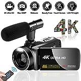 Videokamera Camcorder Ultra HD 4K 30MP Camcorder Kamera mit Mikrofon und Fernbedienung 3.0'IPS Touchscreen Digitalkamera für YouTube Videokamera