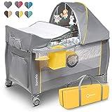 Lionelo Sven Plus 2 in 1 Baby Bett Laufstall Baby ab Geburt bis 15 kg Wickelauflage Moskitonetz luftige Seitenwände mit Seiteneingang Tragetasche...