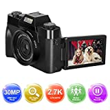 Digitalkamera Fotoapparat Digitalkamera Kamera 1080P Full HD Fotokamera 30.0MP YouTube Videokamera 3,0 Zoll Flip Screen 16X Digitalzoom mit Weitwinkelobjektiv...