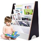 COSTWAY Kinder-Bücherregal Hängefächerregal Büchergestell Zeitungsständer mit 4 Ablagefächern (Kaffeebraun+Weiß)