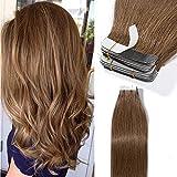 TESS Tape Extensions Echthaar 18 Inch Klebeband Haarverlängerung 20pcs Glatt Remy Tape in Hair Extensions Hellbraun (#6 45cm-50g)
