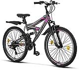 Licorne Bike Strong V Premium Mountainbike in 26 Zoll - Fahrrad für Jungen, Mädchen, Damen und Herren - 21 Gang-Schaltung - Vollfederung