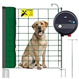 VOSS.PET Hundezaun Set, 50m Elektrozaun Weidezaun Elektronetz Hunde-Set mobil, Einzäunung im Garten, Weidezaungerät fenci M09, 108cm 14 Pfähle 2 Spitzen...