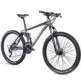 CHRISSON 29 Zoll Mountainbike Fully - Hitter FSF grau blau - Vollfederung Mountain Bike mit 30 Gang Shimano Deore Kettenschaltung - MTB Fahrrad für Herren und...
