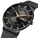 LIGE Herren Uhren Ultra Dünne Schwarze Minimalistische Quartz mit Datumsanzeige Armbanduhr Männer Wasserdicht Mode Edelstahl Mesh Armbanduhren Analoger Quarz