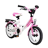 BIKESTAR Premium Sicherheits Kinderfahrrad 12 Zoll für Mädchen ab 3-4 Jahre | 12er Kinderrad Classic | Fahrrad für Kinder Pink & Weiß