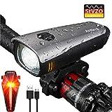 Antimi LED Fahrradlicht Set,StVZO Zugelassen USB Wiederaufladbar Fahrradbeleuchtung Set mit IPX5 Wasserdicht Frontlicht & Rücklichter,Fahrradlampe mit Samsung...