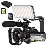 ORDRO Camcorder 4k-Videokamera 1080P 60FPS IR-Nachtsicht-Videorecorder 3,1-Zoll-IPS-Touchscreen-WiFi-Camcorder mit Mikrofon, LED-Videolicht, Weitwinkelobjektiv,...