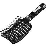 Entlüftete Entwirrende Haarbürste Gebogene Haarbürste Haarstyling Bürste für Langes, Dickes, Lockiges, Nasses Haar, Unisex (Schwarz)