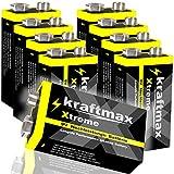 kraftmax 8er Pack Xtreme 9V Block Hochleistungs- Batterien ideal für 10 Jahres Rauchmelder - 6LR61 9 Volt Longlife Blockbatterie mit maximaler Lebensdauer