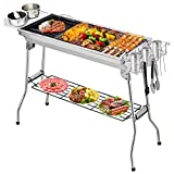 Fixget Holzkohlegrills, Edelstahl Grill BBQ Tools Sets Kochutensilien BBQ Grill Kit für Picknick, Camping Barbecue Party