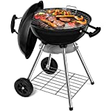 BEAU JARDIN Black charcoal barbecue picnic barbecue kettle barbecue for charcoal with removable ash pan round grill stand grill with lid 4 legs rolls, 44 cm,...