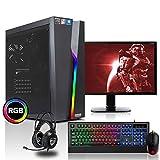 dcl24.de [11749] Gaming Komplett PC Set Bolt RGB AMD Ryzen 3-3200G 4x3.6 GHz - 240GB SSD & 1TB HDD, 16GB DDR4, Vega 8, mit 24 Zoll TFT, Maus, Tastatur, Headset,...