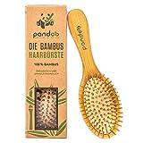 pandoo Bambus Haarbürste mit Naturborsten - Vegan, umweltfreundlich - Natur-Bürste mit Bambusborsten für natürlich schöne Haare für Männer, Frauen &...