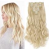 Clip in Extensions wie Echthaar günstig Haarteile 8 Tresssen 18 Clips für komplette Haarverlängerung Gewellt Haarextensions 24'(60cm)-140g Hell-Lichtblond