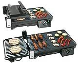 Rosenstein & Söhne Grill: Elektrischer 2in1-Tischgrill mit Kontaktgrill, Grillplatte, 2.000 Watt (Balkon Grill)