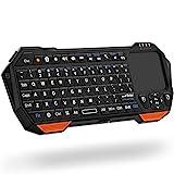 Fosmon Mini-Bluetooth-Tastatur (QWERTY-Tastatur), kabellos, tragbar, leicht, mit integriertem Touchpad, kompatibel mit Apple TV, PS4, HTPC/IPTVVR Brille,...