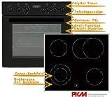 PKM Einbauherd Set Backofen Ceran Kochfeld mit Edelstahlrahmen Herd Set Schwarz | Bräterzone | Teleskopauszüge | Timer | 2+1 Dualzone | Edelstahlrahmen |...