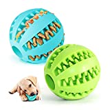 2 Hundespielzeug Ball,Naturgummi mit Minzgeschmack Hund Feeder Ball,Trainingszahn Intelligenzspielzeug für Hunde Ball mit Zahnreinigung Spielzeug (Grün &...