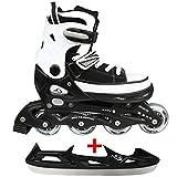 Cox Swain Sneak Kinder Inline Skates & Kinder Schlittschuh 2 in 1 - größenverstellbar ABEC5, schwarz, M (37-40)