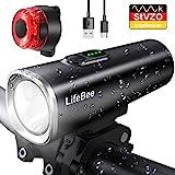 LIFEBEE LED Fahrradlicht Set, StVZO Zugelassen USB Fahrradbeleuchtung Fahrradlampe Frontlicht/Rücklicht, IPX5 Wasserdicht 2600mAh Samsung Li-ion Licht für...