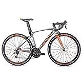 NENGGE Erwachsene Rennrad Fahrrad, 22 Gang-Schaltung Ultra-Licht Alu-Rahmen Rennrad, Kohlefaser Vordergabel, Herren Damen Race Rennrad,Silber