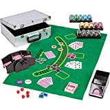 Maxstore Ultimate Pokerset Deluxe, 300er BZW. 600er Edition, 12 Gramm METALLKERN Laserchips, Poker Decks, Alu Pokerkoffer, Kartenmischer, Kartengeber, Würfel,...