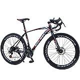 Männer Rennrad 700C Räder, Rennrad Für Erwachsene Mit Dual Scheibenbremse, Hohe Kohlenstoffstahlrahmen Road Bikes, 26 Zoll, Stadt Utility Fahrrad Für...