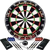 IgnatGames Professionelles Dartboard-Set - Borste/Sisal Turnier-Dartscheibe mit ultradünner Drahtspinne komplett ohne Klammern + 6 Steel Tip Darts +...