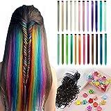 Farbige Haarverlängerung Clips 24 Farben Bunte Haarsträhnen Glatte Regenbogen Gerade(DIY) Weihnachten Für Mädchen Kinder Synthetisch Haarteil 24 Stück