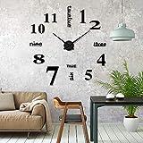 iKALULA DIY Wanduhr, DIY 3D Wanduhren Modern Design Acryl Wanduhren Wandtattoos Dekoration Uhren für Büro Wohnzimmer Schlafzimmer Uhr Geschenk Home...