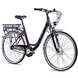 CHRISSON 28 Zoll E-Bike Trekking und City Bike für Damen - E-Lady schwarz mit 7 Gang Shimano Nexus Nabenschaltung - Pedelec Damen mit Bafang Vorderradmotor...