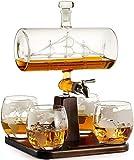 LNLJ Kreative Antike Boot Geformte Decanter Mit 4 Geätzte Globe Whisky Gläser, Getränkespender Für Spirituosen, Scotch, Bourbon, Wodka - 1000Ml