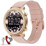 Smartwatch Damen,Smart Watch Uhren Damen mit Anrufe telefonfunktion,Android Smartwatch 1,28zoll mit Bluetooth Fitness Tracker Uhr Wasserdicht Schrittzähler...