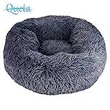 Queta Deluxe-Haustierbett,für Katzen und kleine bis mittelgroße Hunde,Leicht zu reinigen,Bett für Haustiere in Doughnut-Form,50cm (Dunkelgrau)