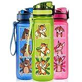 Monte Stivo® Friends Trinkflasche für Kinder 600ml | Motivierende Trinkskala BPA-Frei Auslaufsicher Kohlensäure geeignet | Geschenk für Schule & Freizeit
